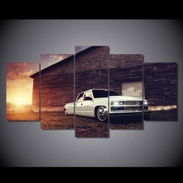 Wholesale Hd Car Pictures - 5 Pcs Set No Framed HD Printed White car pickup Painting Canvas Print room decor print poster picture canvas tableau decoration murale