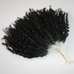 Wholesale 14 Micro Loop Extensions - Jerry Curly Micro Ring Hair Extensions 400s lot Kinky Curly Loop Hair Natural Color Mirco Loop Hair 14 16 18 20inches 0.5g strand Epacket
