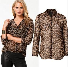 Wholesale Street Blouse - High Street Blusas Femininas 2016 Women Blouse Ladies Sexy Long Sleeve Leopard Print Chiffon Blouses Blusas Tops Shirt for Women