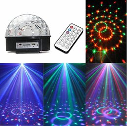 Wholesale Laser Disco Crystal Ball - 10PCS Lot DJ LED dmx laser light Crystal magic ball stage lighting 6 colors 5 modes USB MP3 disco light +remote controller