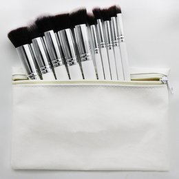 Wholesale Bb Professionals - 2017 Hot Makeup Professional Brush set Cosmetic Foundation BB Cream Powder Blush 10 pieces Makeup Tools Black White Pink with Pouch 100sets