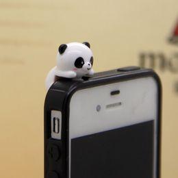 Wholesale Anti Dust Plug Panda - Wholesale-3.5mm Japan and Korea fashion style cute adorable panda anti dust plug Bottom earphone jack for cell phone 100pcs lot wholesale