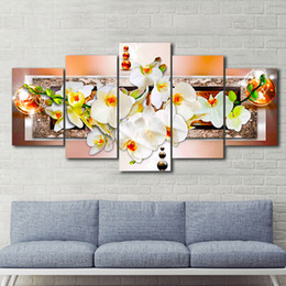Wholesale Orchid Flower Oil Painting - 5pcs set Unframed Brown Pearl Orchid Flower Wall Art Oil Painting On Canvas Textured Abstract Paintings Pictures Decor Living Room Decor