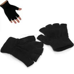 Wholesale Fingerless Elastic Gloves - 1 Pair Men Outdoor Winter Elastic Knitted Stretch Fingerless Gloves Black Free Shipping