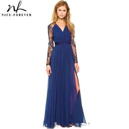 Wholesale Nice Chiffon Long Dress - x201710 Nice-forever Sexy Blue Summer Elegant V Neck Long Lace Sleeve Fitted dress Women Fashion Slimming Chiffon Split Maxi Dress A001