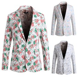 Wholesale Colorful Blazers - Personalize Men Printing Colorful Party Suits Lapel V Neck Cotton Men Leisure Outdoor Single Button Shiny Blazer Jackets J160448