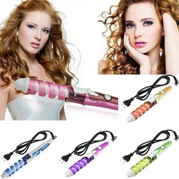 Wholesale New Electric Hair Curler - New 2016 Electric Hair Curler Magic Hair Styling Tool Ceramic Roller Pro Spiral Curling Iron Wand Curl Electric Hair Curler