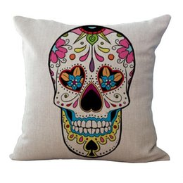 Wholesale Skull Cover Case - Skull Pattern Cushion Europe Retro Style Linen Cover Personality Top Quality Pillow Case Car Home Decor Non Core 7my R