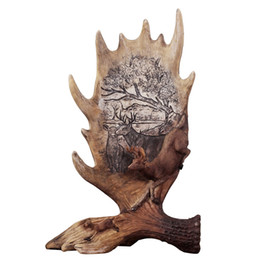 Wholesale Sculpture Home Decoration - American style Retro elk antlers resin crafts novelty handcrafted animal deer sculpture TV stand living room home decoration furnishings