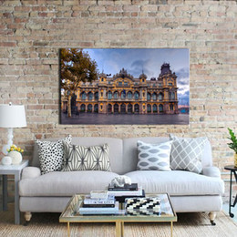 Wholesale Scenery Trees Painting - 1 Picture Combination Painted Oil Painting Buildings At The Villa And The Trees Beautiful scenery On Canvas For Home Decor