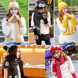 Wholesale Knitted Hats For Men Patterns - Wholesale-New Women Snow Hats Glove scarf Three Piece Autumn And Winter Keep Warm Christmas Gift For Women Knitting Snow Pattern Scarf
