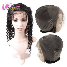 Wholesale Medium Length Hair Wigs - Cheap Deep Wave Full Lace Wig Virgin Human Hair Deep Wave Front Lace Wig Length 8-24 Inch