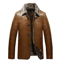 Wholesale Leather Jacket For Large Men - Fall-2016 Winter Leather Jackets Men Faux Fur Coats Male Casual Motorcycle Leather Jacket Thicken Outwear Overcoat For Man Large Size