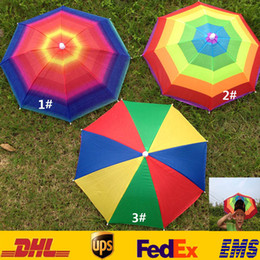Wholesale Adult Children Outdoor Foldable Sun Umbrella Hat Golf Fishing Camping Shade Beach Headwear Cap Head Hats ZJ U01