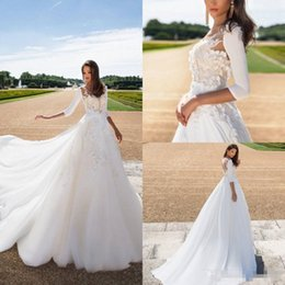 Wholesale Ivory Lace Wedding Coat Dress - 2018 Milla Nova Lace Ball Gown With Coat Wedding Dresses Strapless Saudi Arabia Bridal Gowns Appliqued Plus Size Wedding Dress