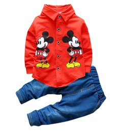 Wholesale Girls Shirt Jeans - 2016 autumn children clothes boys suit set Mickey shirt+jeans 2 pieces kids cartoon clothes sets 4 s l