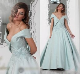 Wholesale Modern Baby Formal Gowns - Gorgeous Baby Blue Off Shoulder Prom Dresses 2016-2017 V Neck Satin A Line Evening Gowns Lace Applique Floor Length Formal Party Dresses