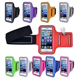Wholesale Wholesale Baseball Armbands - 20pcs Lightweight Sport Armband Case Jogging Waterproof Armband Mobile Phone Smartphone Pouch Cover 11colors 4.7inch 5.5inch