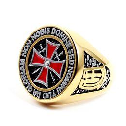 Argentina 2017 la última moda para hombre 316L acero inoxidable Masonic Signet Cruz roja caballeros Templarios símbolo de plata anillos de oro joyería Suministro
