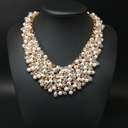 Wholesale Indian Luxury Pearls Jewelry - 2016 high quality full crystal pearl necklace women handwork fashion chain necklace jewelry Luxury Body Statement wholesale Free Shipping