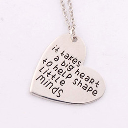 """Wholesale Teachers Day Gifts Wholesale - Gift for Teacher """"It Takes a Big Heart to Help Shape Little Minds"""" Charm Love Heart Pendant Necklace N1681 24 inches Chains"""