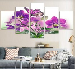Wholesale Cheap Purple Wall Art - 5 Piece Free Shipping Cheap abstract Modern Wall Painting purple pink flower Home Decorative Art Picture Paint on Canvas Prints
