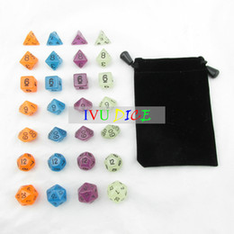 Wholesale Glowing Dice - 28pcs DND Table BOARD GAME Dungeons&Dragons GLOW Fluorescence Green Blue Orange Purple Party Children dices IVU