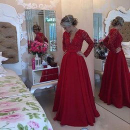 Wholesale Tops Pearl Necklines - 2016 Fabulous Long Sleeves Lace Top Red A Line Satin Prom Dresses Deep V Neckline Backless Beaded Pearls Women Evening Party Gowns
