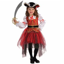 Wholesale Red Pirate Dress - Halloween Girls Perform costumes, cute and funny little girls dressed as pirates of Halloween costumes,children's Halloween Gift