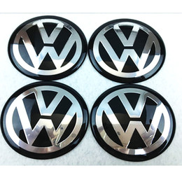 Wholesale Volkswagen Car Stickers - 56mm 65mm aluminum Car VW Black Blue Siver Wheel Hub Center Caps Emblem Styling vw bora Logo Wheel Sticker For golf GTI passat polo