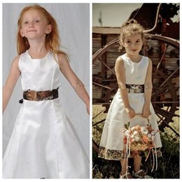 Wholesale Angle Kids Dress - A-Line Satin Tea length Angle Flower Girls Dresses Satin White Camo Camouflage Formal Girls Kids Wedding Party Wear 2017