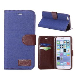 Wholesale Holster Business Card Case - denim jean Canvas Leather Cover wallet business flip cases for iPhone 4 5 6 Plus Flip Cowboy Wallet Holster Credit ID Card Slot
