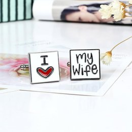 Wholesale Wholesale Cufflinks - High Quality Cuff Links Cufflinks for Men Fashion I Love My Wife Cuff Links Novelty Husband Cufflinks Men Jewelry Cuff Links Accessories