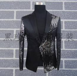 Wholesale sequins suits for men - Wholesale- Black men suits designs masculino homme terno stage costumes for singers men sequin blazer dance clothes jacket style dress