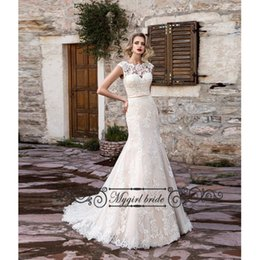 Wholesale Sleeved Lace Backless Wedding Dress - Sexy Open back Mermaid Wedding Dresses with Belt Lace Bridal gown cap Sleeved 2016 Wedding Dress Cheap