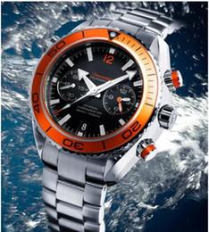 Wholesale Luxury Mens Leather Bracelets - Wholesale-Luxury New James Bond 007 Automatic Black Dial Orange Bezel Stainless Bracelet High Quality Mens Watch Men Sport Watches