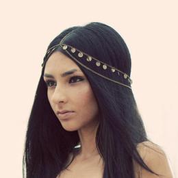 Wholesale Wholesale Celtic Metal Headbands - Vintage Headwear Women Gold Metal Alloy Round Sequins Tassels Head Chain Headband Piece Hair Accessories Fashion Jewelry