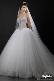 Wholesale Sexy Swetheart Lace - 2016 Exquisite Swetheart Wedding Dress Lace Wedding Dresses A Line Crystal Beaded Chapel Train White Sheer Ball Gown Bridal Wedding Gown
