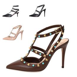 Wholesale Shoe Making Adhesive - tailor made* high quality! u563 34 40 genuine leather gem stud heels sandals flats v pumps 7.5 10cm luxury designer jewel shoes 2016