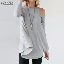 Wholesale Plus Size Long Sleeve Tunic - Wholesale- ZANZEA Women Tops 2017 Autumn Blusas Ladies Sexy Tunic Off Shoulder Long Sleeve Pullover Casual Loose Blouses Shirts Plus Size