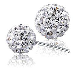 Wholesale cheap 925 silver earrings - Luxury brand Brilliant Design Cheap 925 sterling silver Clear CZ Stud Earrings for women Double Ball shamballa earrings