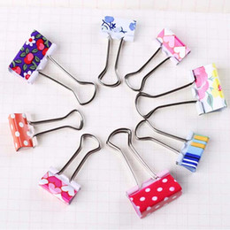 Wholesale Old Art Paper - Sweet 48 pcs lot Flower Printed Metal Binder Clips Notes Letter Paper Clip Office School Organizer Supplies 19mm 25mm
