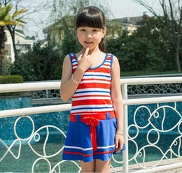 Wholesale Children Swimsuits Cheap - Summer Cheap lovely Kid swimsuit Children dresses stripe navy wind girls one-piece bathing suit beach holiday hot spring clothing