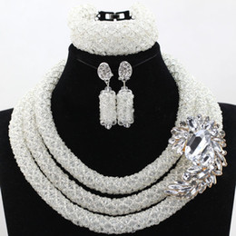 Wholesale Vintage African American Women Gifts - bridal vintage necklace sets Nigerian Wedding African Beads Crystal Necklace Bracelet Earrings elegant purple pink 3 layers for women gift