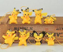 Wholesale Cartoon Kids Bag Strap - Newest 8style set Cute Poke Pikachu Keychain PVC Action Figure Keychain Mobile Phone Strap Bag Strap For Kids Gift