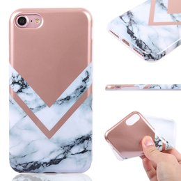 Wholesale Iphone Stripes - TPU Gilding Marble Phone Case for iPhone 8 7 6 6s Plus New Arrival Stripe Protective Casing Wholesale Soft Electroplate Cover OPP Bag