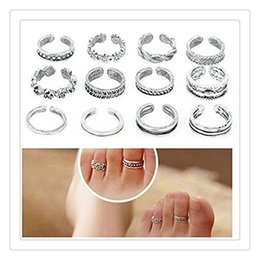 Wholesale Unique Lady - Wholesale Flower Toe Ring Women Lady Unique Adjustable Opening Finger Ring Fashion Simple Sliver Plated Retro Carved Foot Beach Jewelry