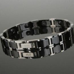Wholesale Tourmaline Silicone Bracelet - P065 Noproblem Ion balance fashion power tourmaline therapy energy men charm magnetic bracelets bangles Chain & Link Bracelets