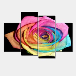 Wholesale Colorful Rose Painting - Modern Wall Art Home Decoration Printed Oil Painting Pictures 4 Panel HD Canvas Prints Abstract Colorful Rose Living Room Decor F 0055