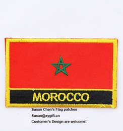 Wholesale Iron Morocco - Morocco Flag Patches Iron on patches,embroidery patches,logo embroidery patches,embroidery patches for clothing,custom embroidery patches,